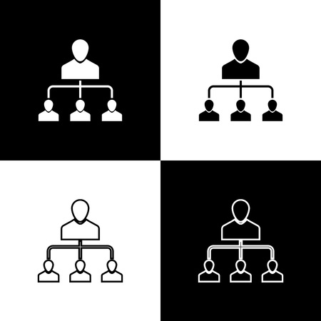 Set Referral marketing icons isolated on black and white background. Network marketing, business partnership, referral program strategy. Line, outline and linear icon. Vector Illustration