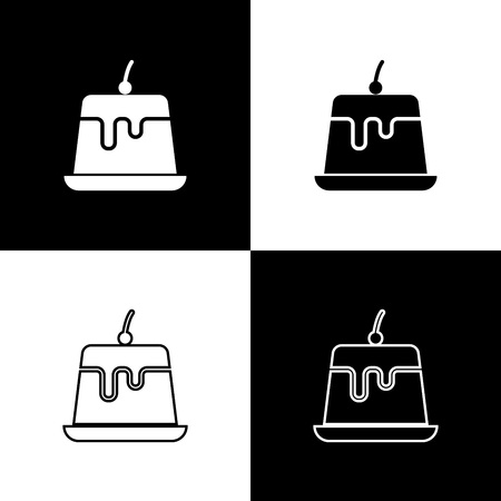 Set Pudding custard with caramel glaze icons isolated on black and white background. Line, outline and linear icon. Vector Illustration