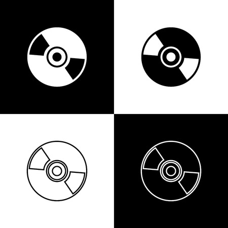 Set CD or DVD disk icons isolated on black and white background. Compact disc sign. Line, outline and linear icon. Vector Illustration