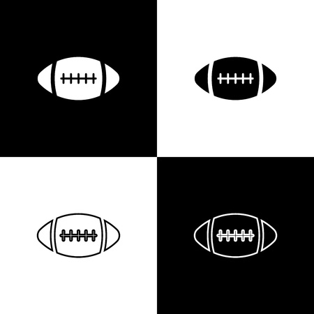 Set American Football ball icons isolated on black and white background. Line, outline and linear icon. Vector Illustration