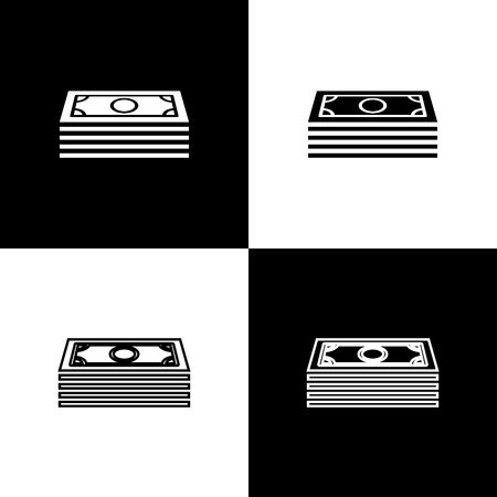 Set Stacks paper money cash icons isolated on black and white background. Money banknotes stacks. Bill currency. Line, outline and linear icon. Vector Illustration Ilustração
