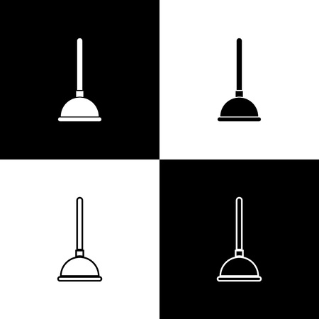 Set Rubber plunger with wooden handle for pipe cleaning icons isolated on black and white background. Toilet plunger. Line, outline and linear icon. Vector Illustration Imagens - 123729856