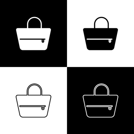Set Handbag icons isolated on black and white background. Female handbag sign. Glamour casual baggage symbol. Line, outline and linear icon. Vector Illustration