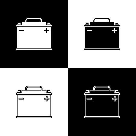 Set Car battery icons isolated on black and white background. Accumulator battery energy power and electricity accumulator battery. Line, outline and linear icon. Vector Illustration