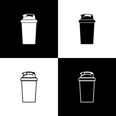Set Fitness shaker icons isolated on black and white background. Sports shaker bottle with lid for water and protein cocktails. Line, outline and linear icon. Vector Illustration 向量圖像