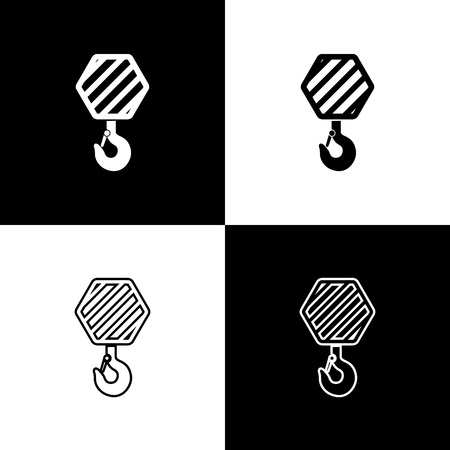 Set Industrial hook icons isolated on black and white background. Crane hook icon. Line, outline and linear icon. Vector Illustration Ilustrace