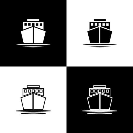Stellen Sie die Schiffsikonen ein, die auf schwarzem und weißem Hintergrund lokalisiert werden. Linie, Umriss und lineares Symbol. Vektorillustration Vektorgrafik
