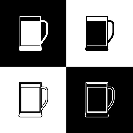 Set Glass of beer icons isolated on black and white background. Line, outline and linear icon. Vector Illustration