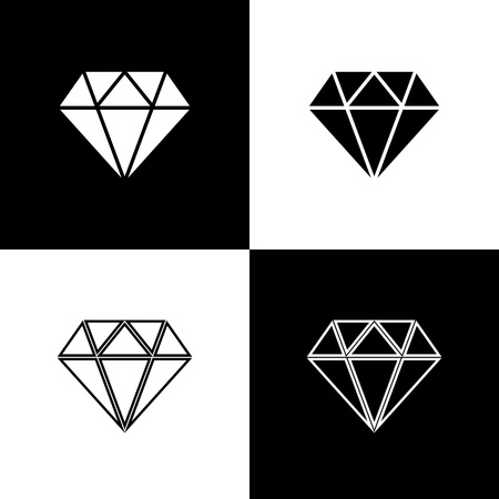 Set Diamond icons isolated on black and white background. Jewelry symbol. Gem stone. Line, outline and linear icon. Vector Illustration