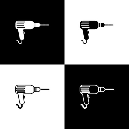 Set Drill machine icons isolated on black and white background. Line, outline and linear icon. Vector Illustration