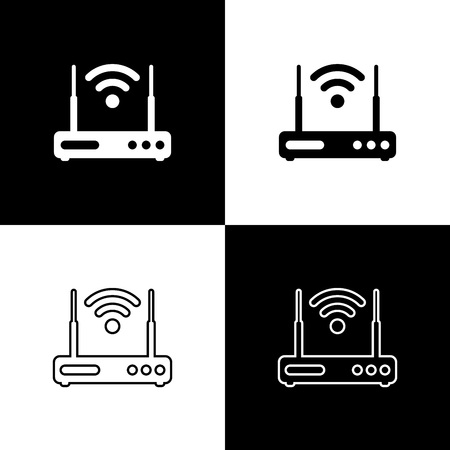 Set Router and wifi signal symbol icons isolated on black and white background. Wireless modem router. Computer technology internet. Line, outline and linear icon. Vector Illustration Ilustracja
