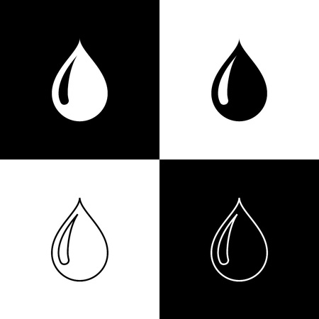 Set Water drop icons isolated on black and white background. Line, outline and linear icon. Vector Illustration