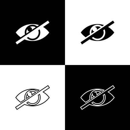 Legen Sie unsichtbare Symbole fest oder verstecken Sie sie isoliert auf schwarzem und weißem Hintergrund. Linie, Umriss und lineares Symbol. Vektorillustration Vektorgrafik