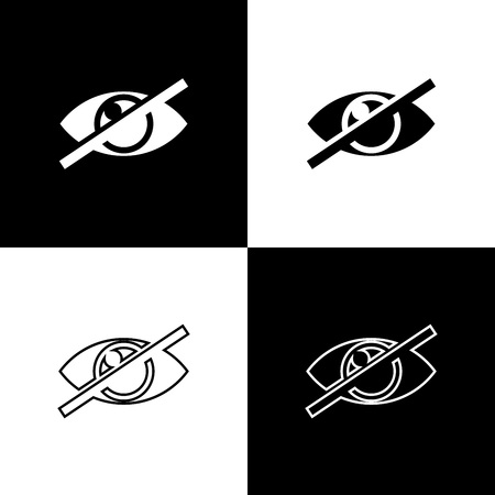 Set Invisible or hide icons isolated on black and white background. Line, outline and linear icon. Vector Illustration