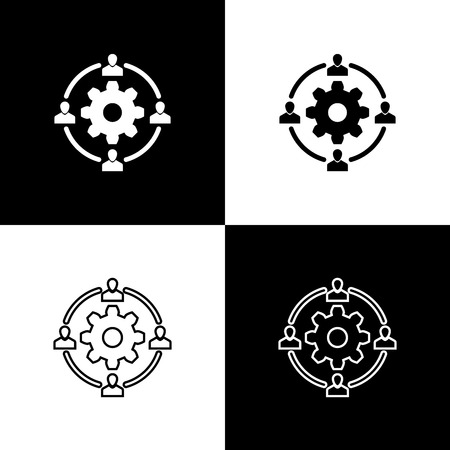 Set Outsourcing concept icons isolated on black and white background. Cooperation sign. Idea of teamwork and investment. Line, outline and linear icon. Vector Illustration Illustration