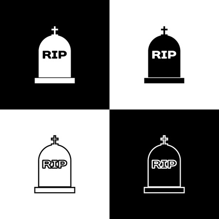 Set Tombstone with RIP written on it icons isolated on black and white background. Grave icon. Line, outline and linear icon. Vector Illustration Vector Illustratie