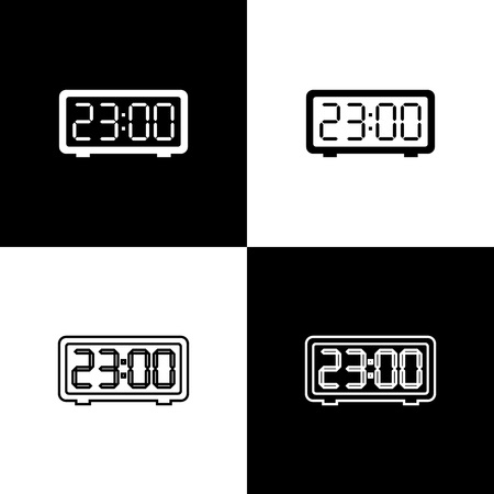 Set Digital alarm clock icons isolated on black and white background. Electronic watch alarm clock. Time icon. Line, outline and linear icon. Vector Illustration  イラスト・ベクター素材