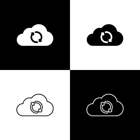 Set Cloud sync refresh icons isolated on black and white background. Cloud and arrows. Line, outline and linear icon. Vector Illustration