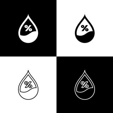 Set Water drop percentage icons isolated on black and white background. Humidity analysis. Line, outline and linear icon. Vector Illustration