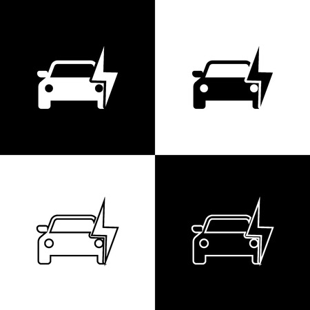 Set Electric car and electrical cable plug charging icons isolated on black and white background. Renewable eco technologies. Line, outline and linear icon. Vector Illustration