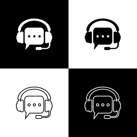 Set Headphones with speech bubble icons isolated on black and white background. Support customer services, hotline, call center, guideline, faq. Line, outline and linear icon. Vector Illustration