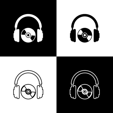 Set Headphones and CD or DVD icons isolated on black and white background. Earphone sign. Compact disk symbol. Line, outline and linear icon. Vector Illustration  イラスト・ベクター素材