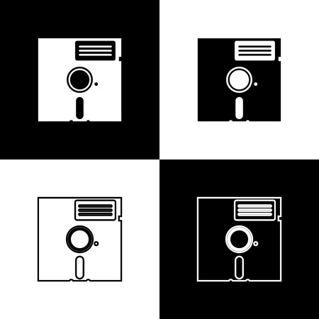 Set Floppy disk in the 5.25-inch icons isolated on black and white background. Floppy disk for computer data storage. Diskette sign. Line, outline and linear icon. Vector Illustration