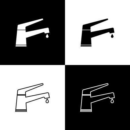 Set Water tap with a falling water drop icons isolated on black and white background. Line, outline and linear icon. Vector Illustration