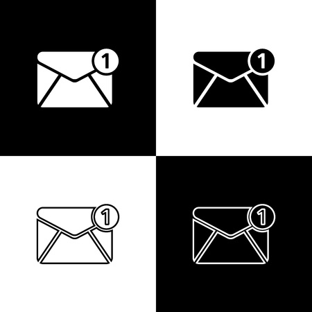Set Envelope icons isolated on black and white background. Received message concept. New, email incoming message, sms. Mail delivery service. Line, outline and linear icon. Vector Illustration