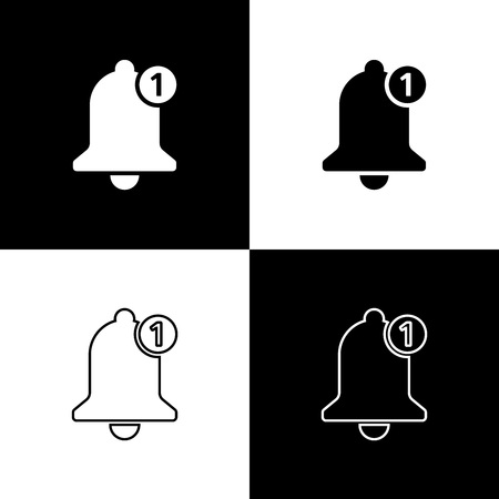 Set Bell icons isolated on black and white background. New Notification icon. New message icon. Line, outline and linear icon. Vector Illustration  イラスト・ベクター素材