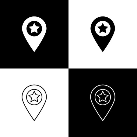 Set Map pointer with star icons isolated on black and white background. Star favorite pin map icon. Map markers. Line, outline and linear icon. Vector Illustration