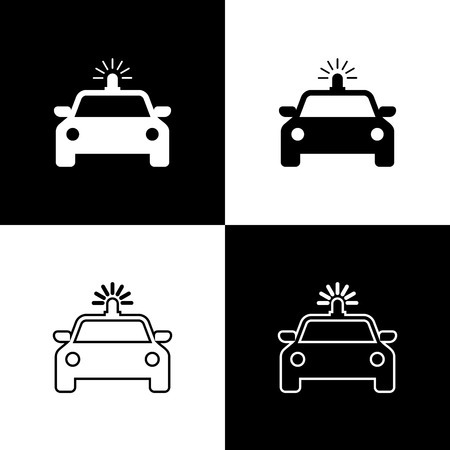 Set Police car and police flasher icons isolated on black and white background. Emergency flashing siren. Line, outline and linear icon. Vector Illustration