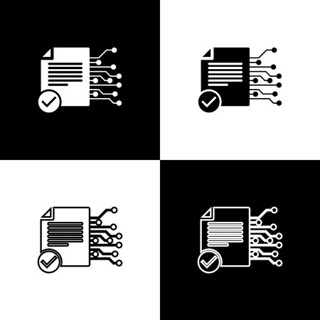 Set Smart contract icons on black and white background. Blockchain technology, cryptocurrency mining, bitcoin, altcoins, digital money market. Line, outline and linear icon. Vector Illustration Illustration