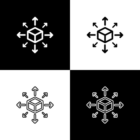 Set Distribution icons on black and white background. Content distribution concept. Line, outline and linear icon. Vector Illustration 일러스트