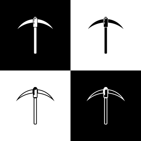 Set Pickaxe icons on black and white background. Blockchain technology, cryptocurrency mining, bitcoin, digital money market, cryptocoin wallet. Line, outline and linear icon. Vector Illustration Vetores