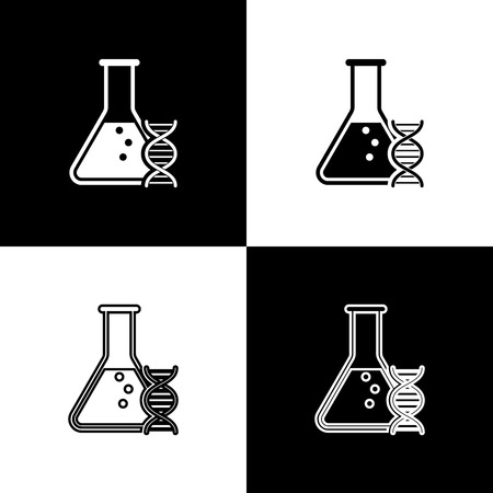 Set DNA research, search icons isolated on black and white background. Genetic engineering, genetics testing, cloning, paternity testing. Line, outline and linear icon. Vector Illustration