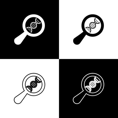 Set DNA research, search icons on black and white background. Magnifying glass and dna chain. Genetic engineering, cloning, paternity testing. Line, outline and linear icon. Vector Illustration