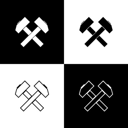 Set Two crossed hammers icons isolated on black and white background. Tool for repair. Line, outline and linear icon. Vector Illustration