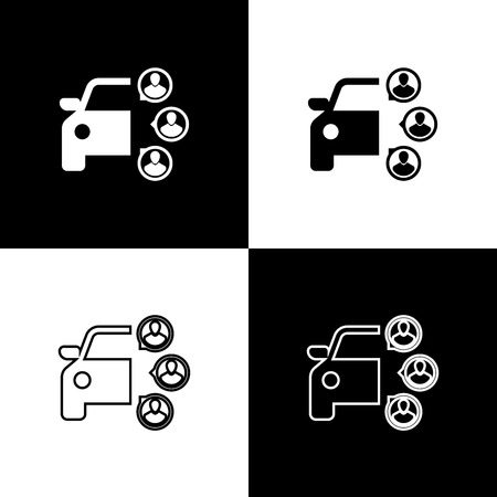 Set Car sharing with group of people icons isolated on black and white background. Carsharing sign. Transport renting service concept. Line, outline and linear icon. Vector Illustration