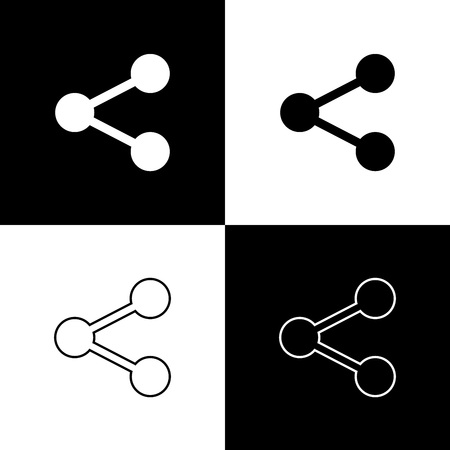Set Share icons isolated on black and white background. Share, sharing, communication pictogram, social media, connection, network, distribute sign. Line, outline and linear. Vector Illustration
