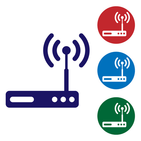 Blue Router and signal symbol icon isolated on white background. Wireless modem router. Computer technology internet. Set color icon in circle buttons. Vector Illustration