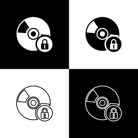 Set CD or DVD disk with closed padlock icons isolated on black and white background. Compact disc sign. Security, safety, protection concept. Vector Illustration