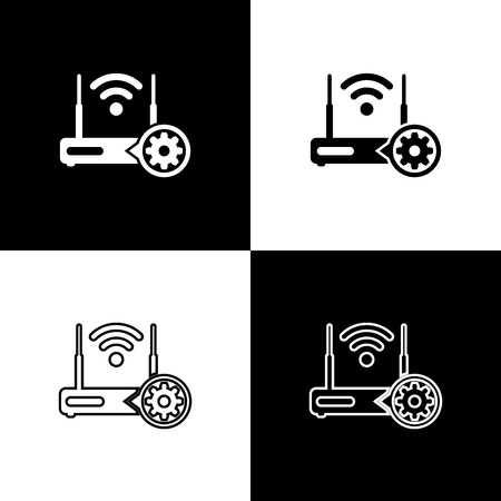 Set Router and wifi signal and gear icons isolated on black and white background. Adjusting app, service concept, setting options, maintenance, repair, fixing. Vector Illustration
