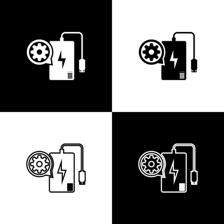 Set Power bank with charge cable and gear icons isolated on black and white background. Adjusting app, service concept, setting options, maintenance, repair. Vector Illustration