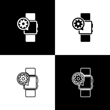 Set Smartwatch and gear icons isolated on black and white background. Adjusting app, service concept, setting options, maintenance, repair, fixing. Vector Illustration