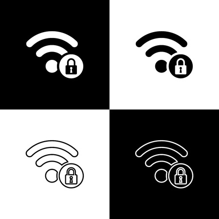 Set Wifi locked sign icons isolated on black and white background. Password Wifi symbol. Wireless Network icon. Wifi zone. Vector Illustration