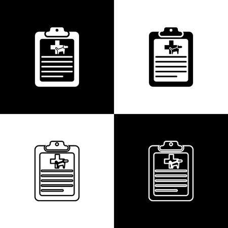 Set Clipboard with medical clinical record pet icons isolated on black and white background. Health insurance form. Medical check marks report. Vector Illustration
