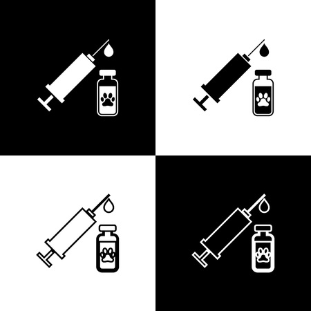 Set Syringe with pet vaccine icons isolated on black and white background. Dog or cat paw print. Vector Illustration