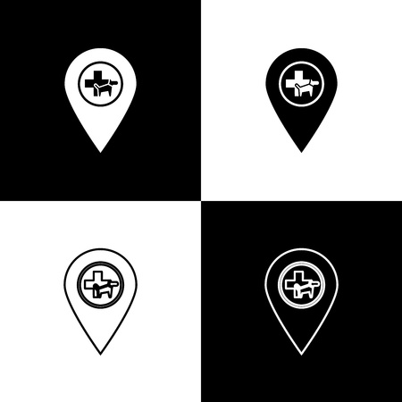 Set Map pointer with veterinary medicine hospital, clinic or pet shop for animals icons isolated on black and white background. Vet or veterinarian clinic. Vector Illustration