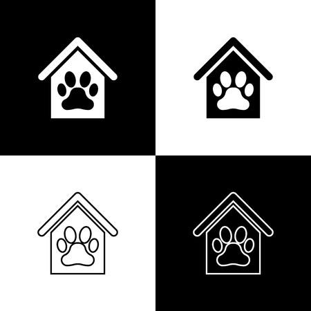 Set Dog house and paw print pet icons isolated on black and white background. Dog kennel. Vector Illustration